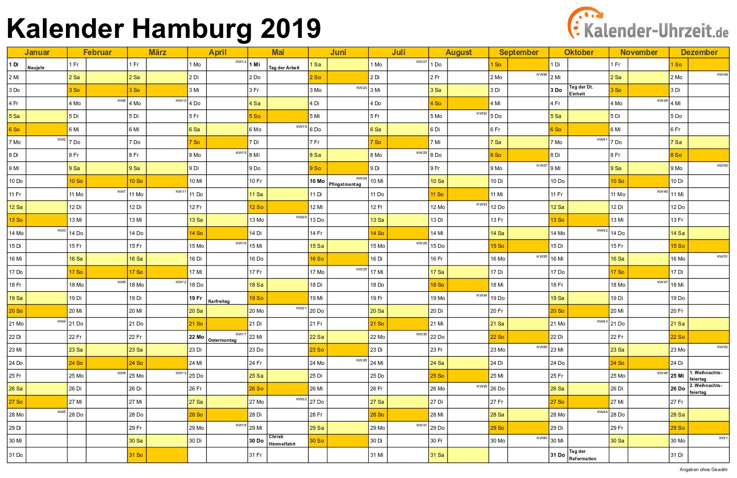 Hamburg Kalender 2019 mit Feiertagen - quer-einseitig