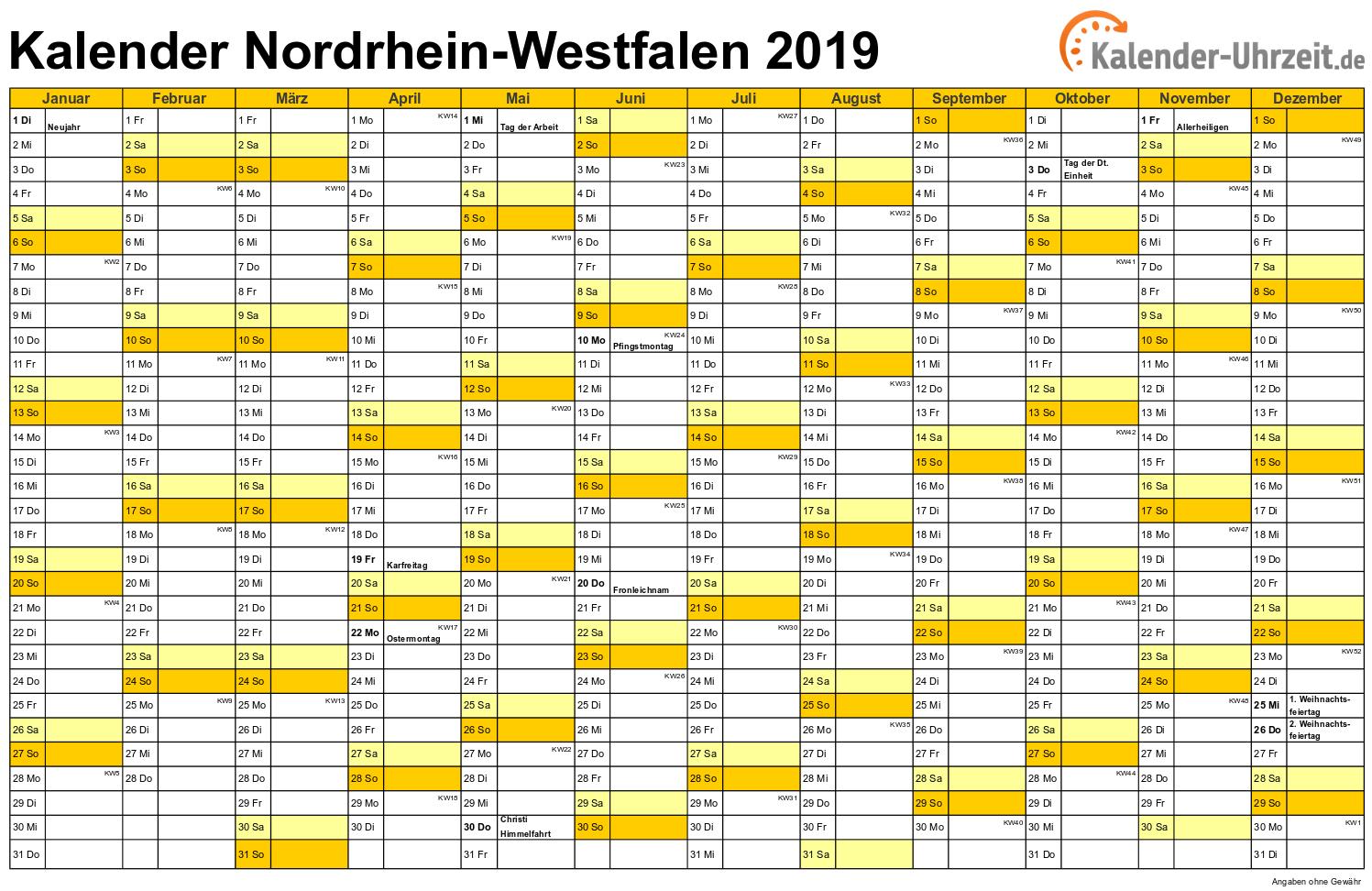 Nordrhein-Westfalen Kalender 2019 mit Feiertagen - quer-einseitig