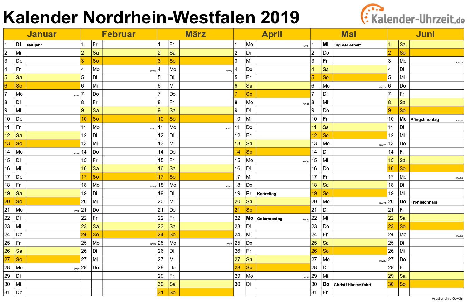 Nordrhein-Westfalen Kalender 2019 mit Feiertagen - quer-zweiseitig