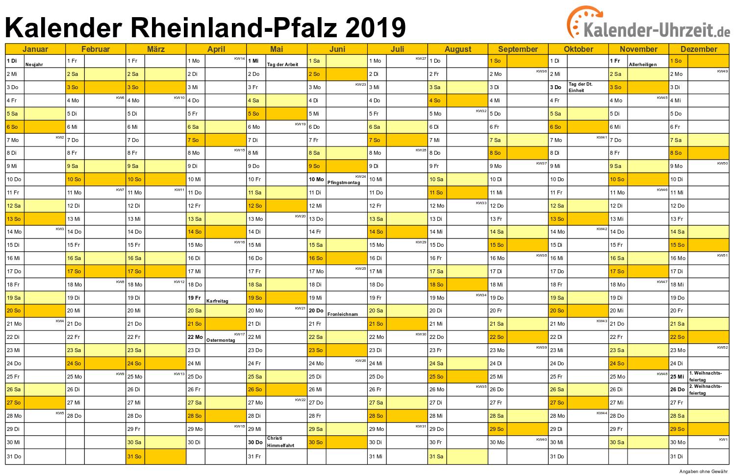 Rheinland-Pfalz Kalender 2019 mit Feiertagen - quer-einseitig