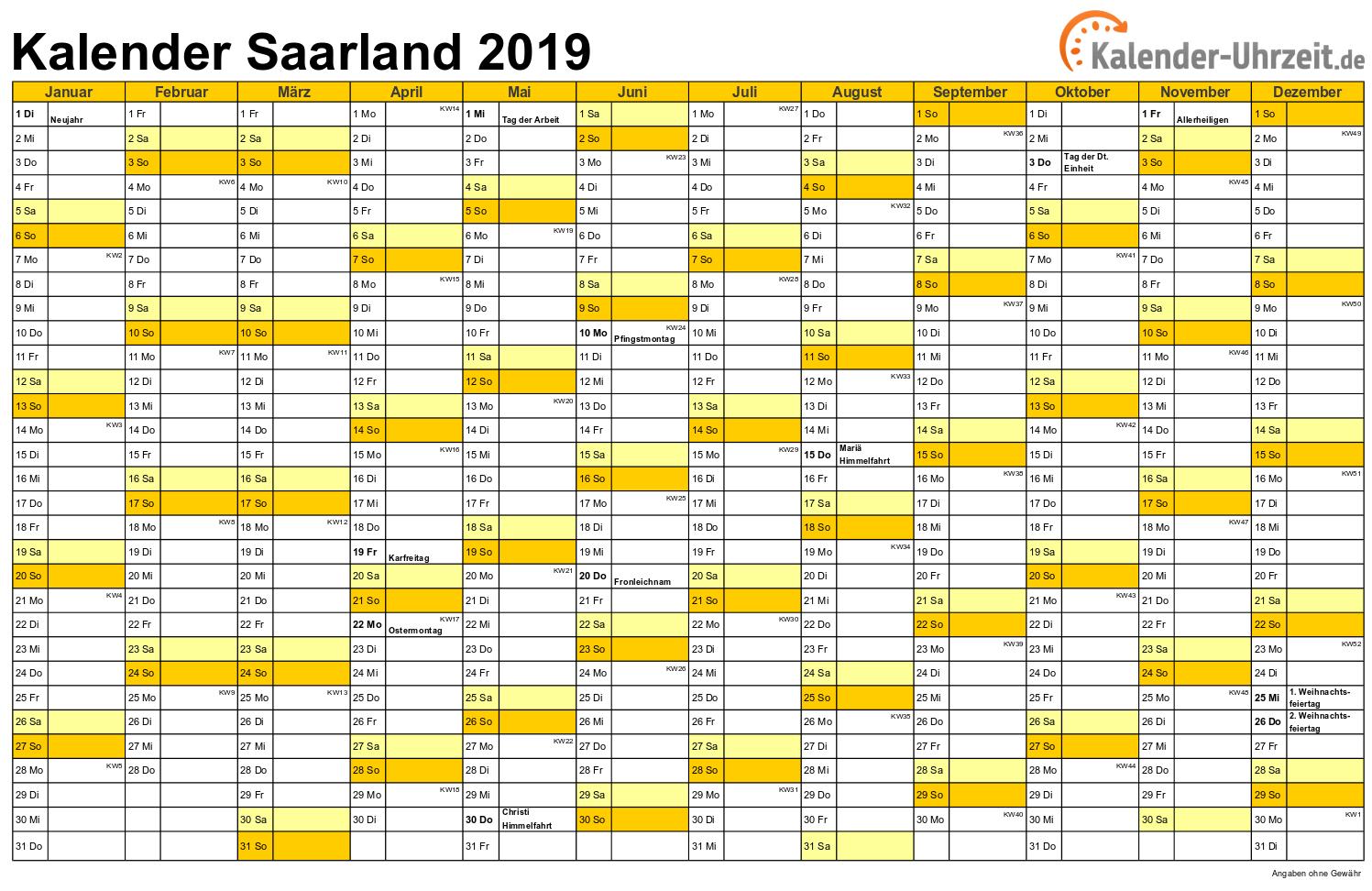 Saarland Kalender 2019 mit Feiertagen - quer-einseitig