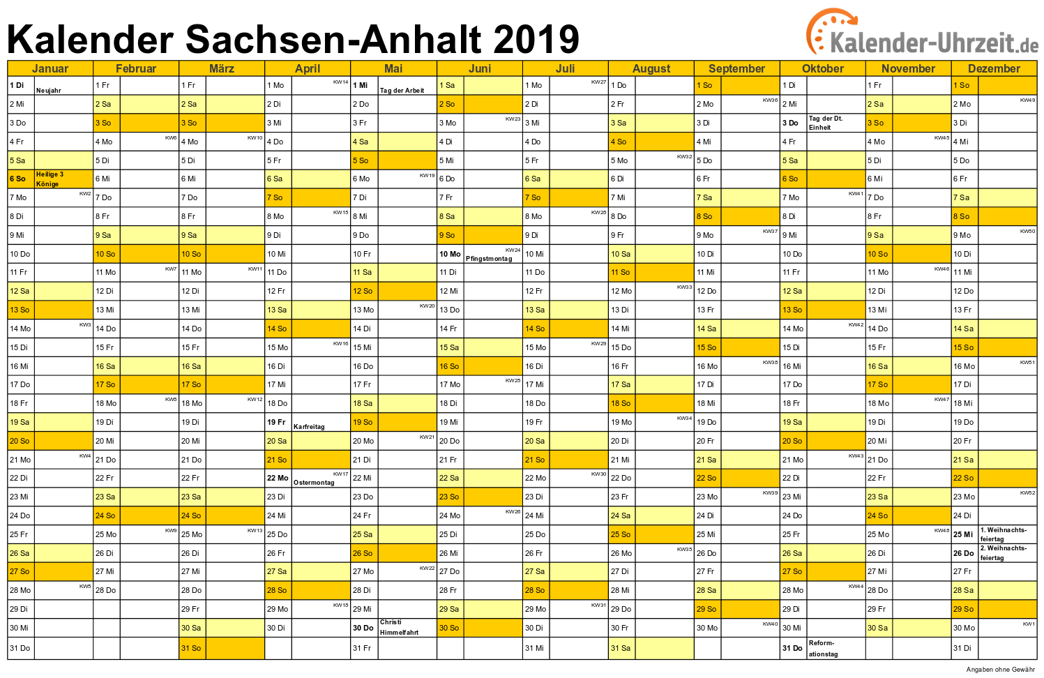 Sachsen-Anhalt Kalender 2019 mit Feiertagen - quer-einseitig