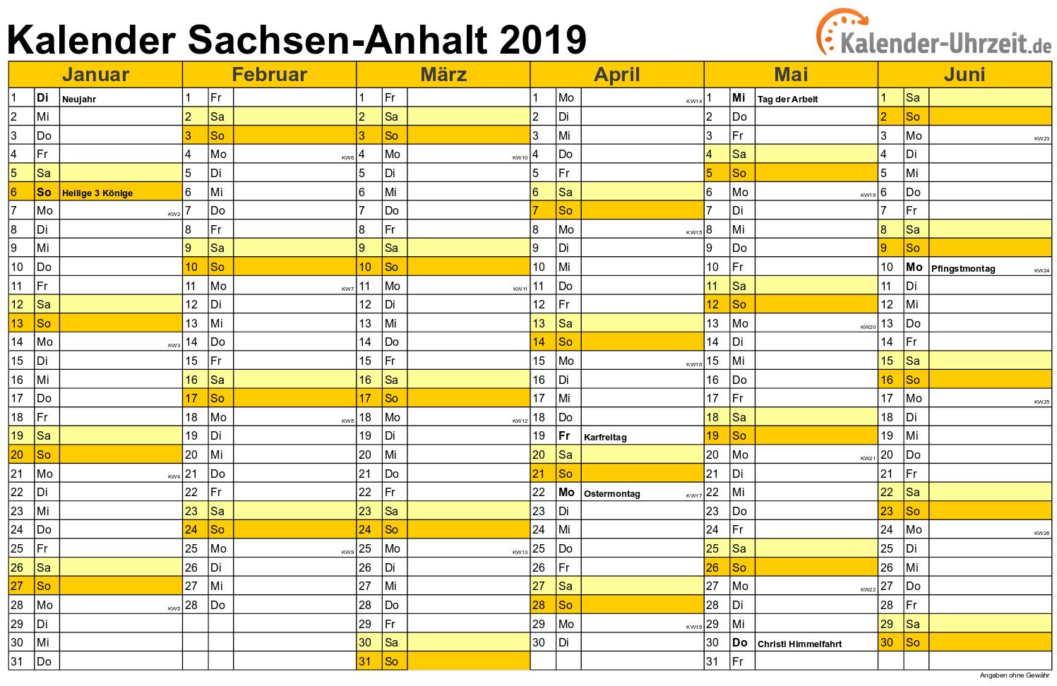 Sachsen-Anhalt Kalender 2019 mit Feiertagen - quer-zweiseitig