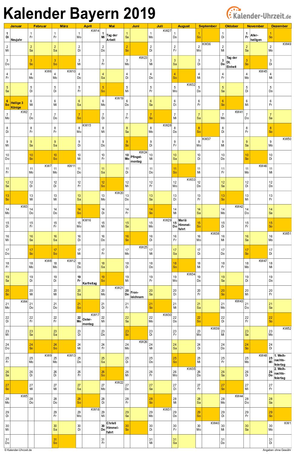 kalender bayern 2019