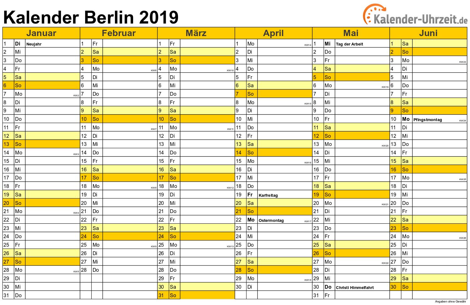 Feiertage 2019 Berlin Kalender