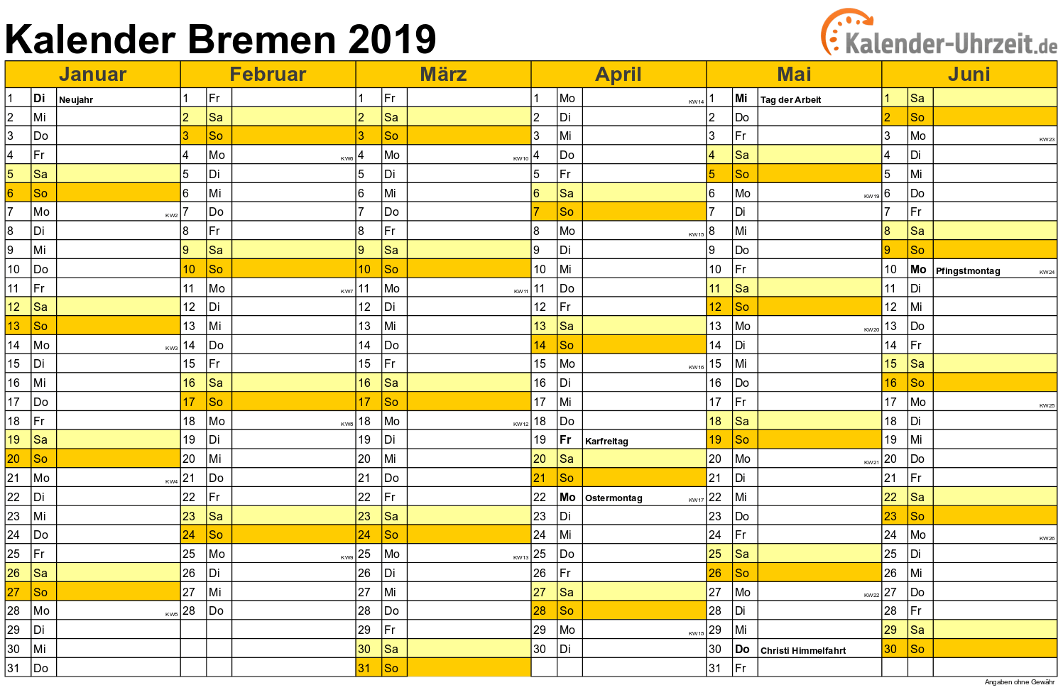 feiertage 2019 bremen kalender. Black Bedroom Furniture Sets. Home Design Ideas