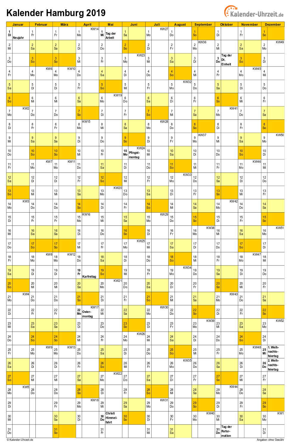 Feiertage 2019 Hamburg Kalender