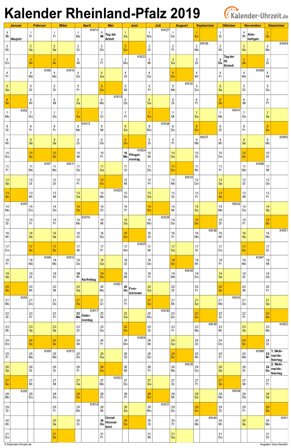 feiertage 2019 rheinland pfalz kalender. Black Bedroom Furniture Sets. Home Design Ideas