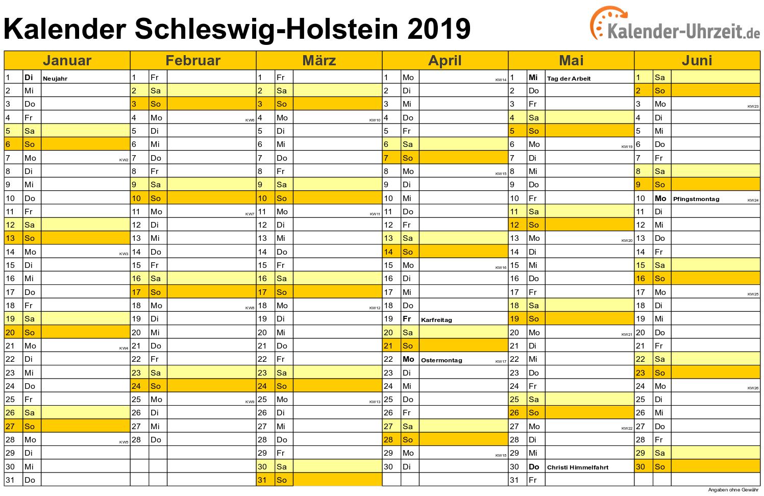 kalender 2019 schleswig holstein