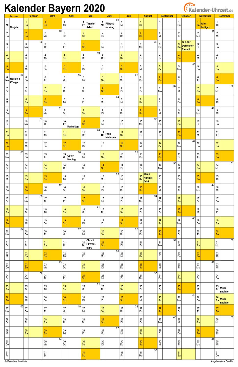 Feiertage 2020 Bayern Kalender