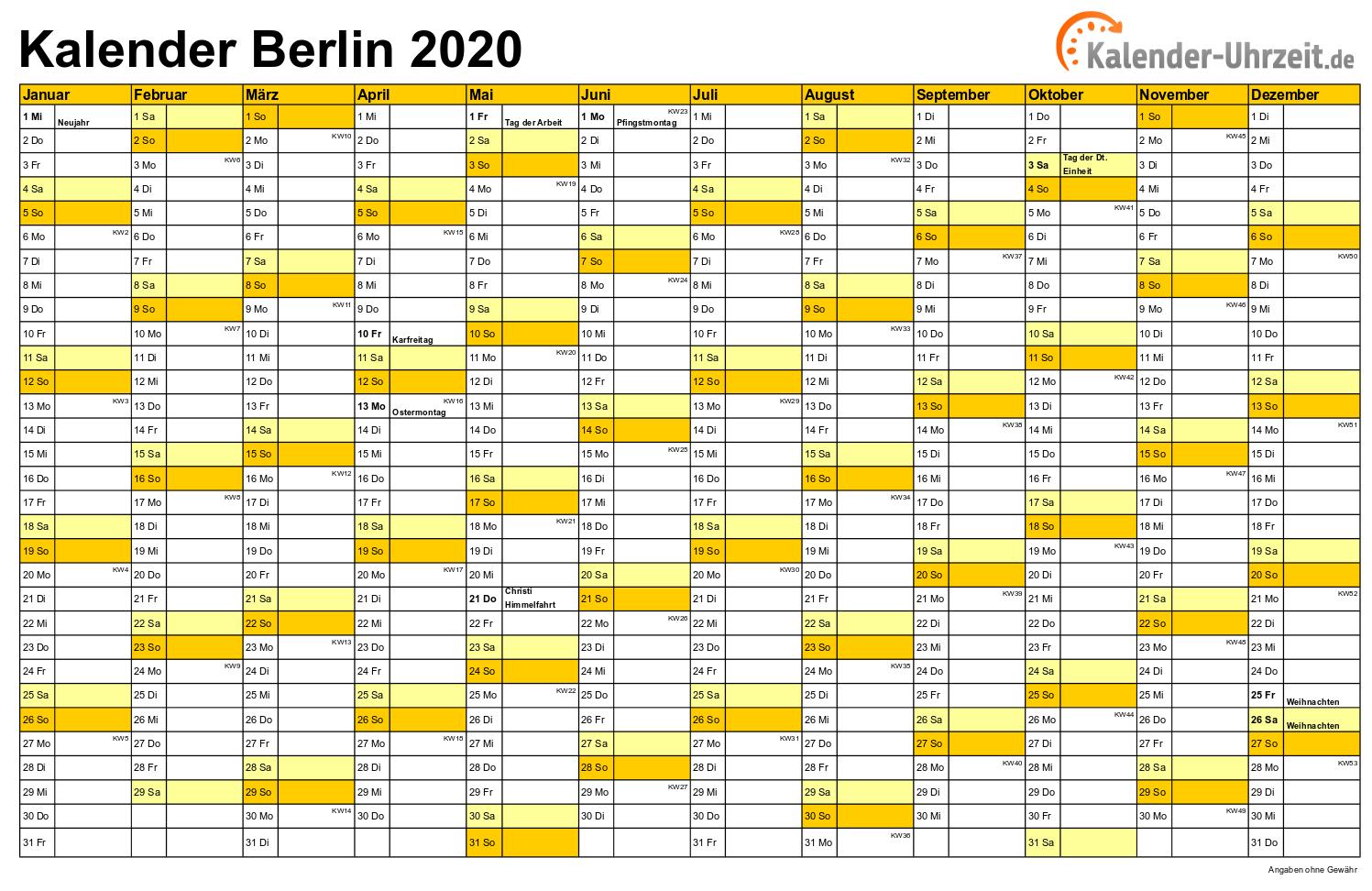 Feiertage Berlin 2020