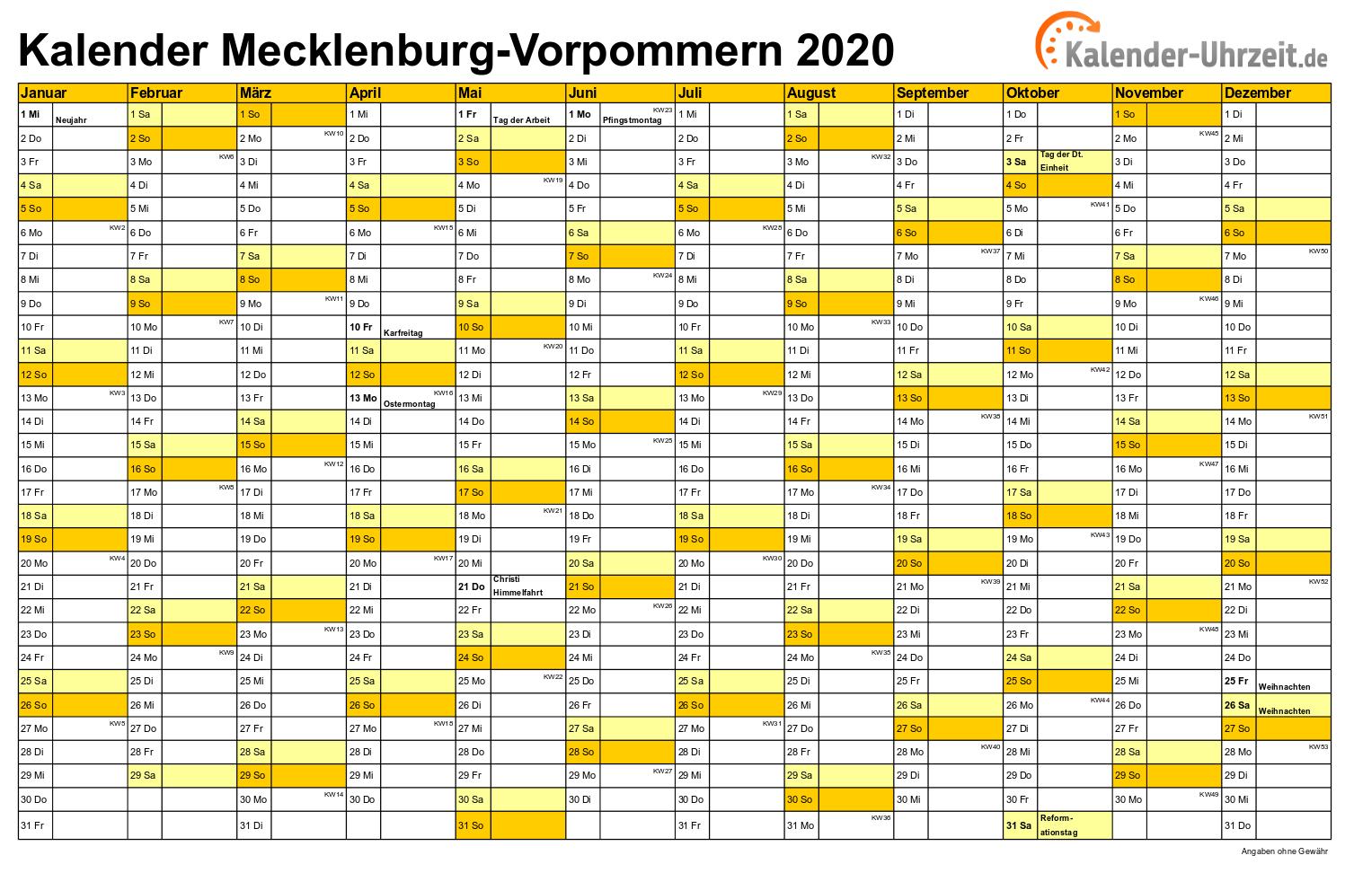 Feiertage 2020 Meck Pomm Kalender