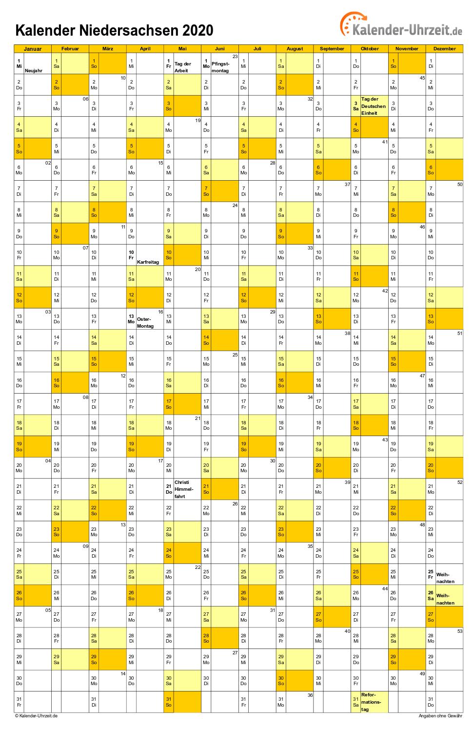 Feiertage 2020 Niedersachsen Kalender