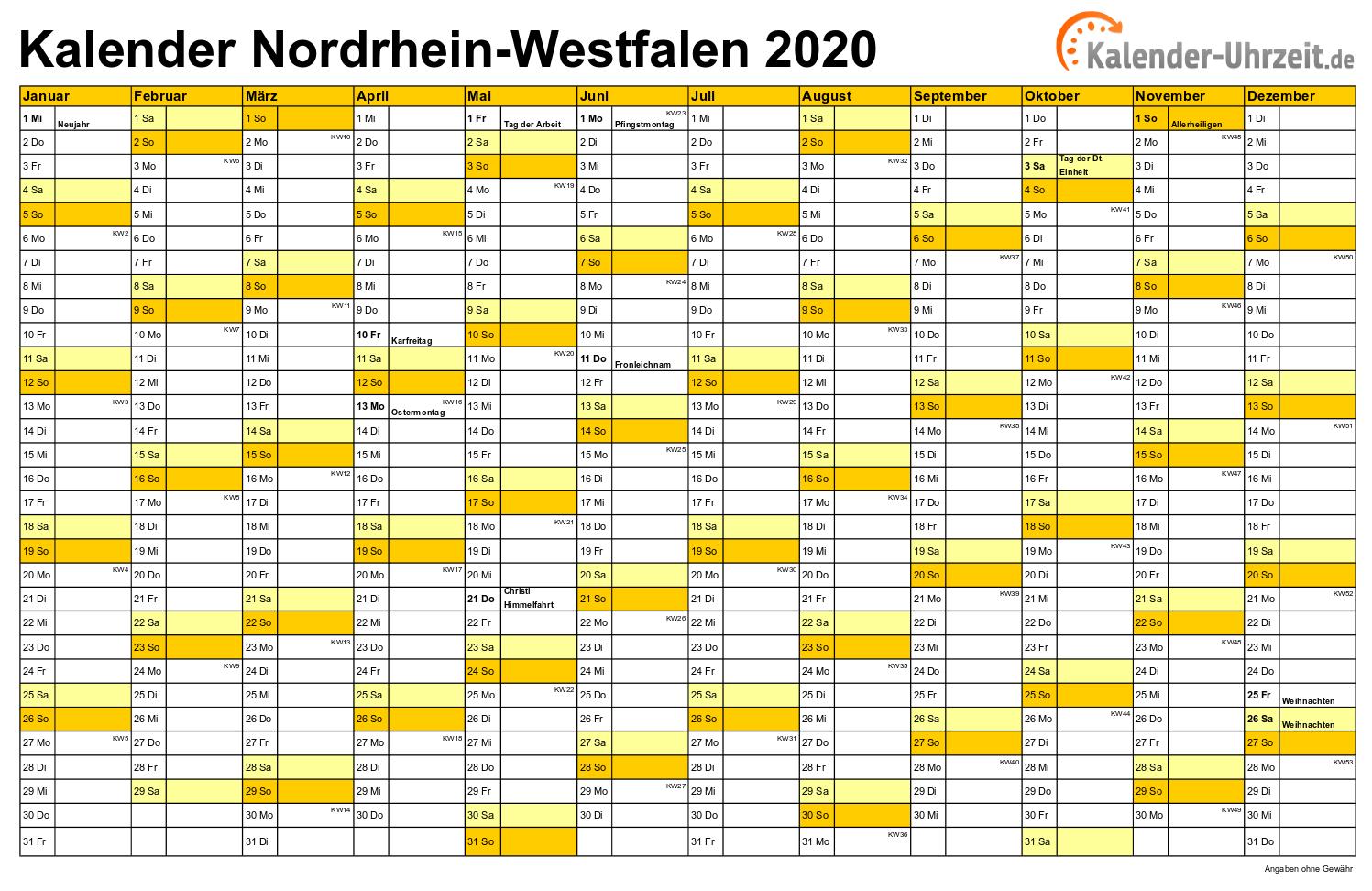 Feiertage 2020 Nordrhein Westfalen Kalender