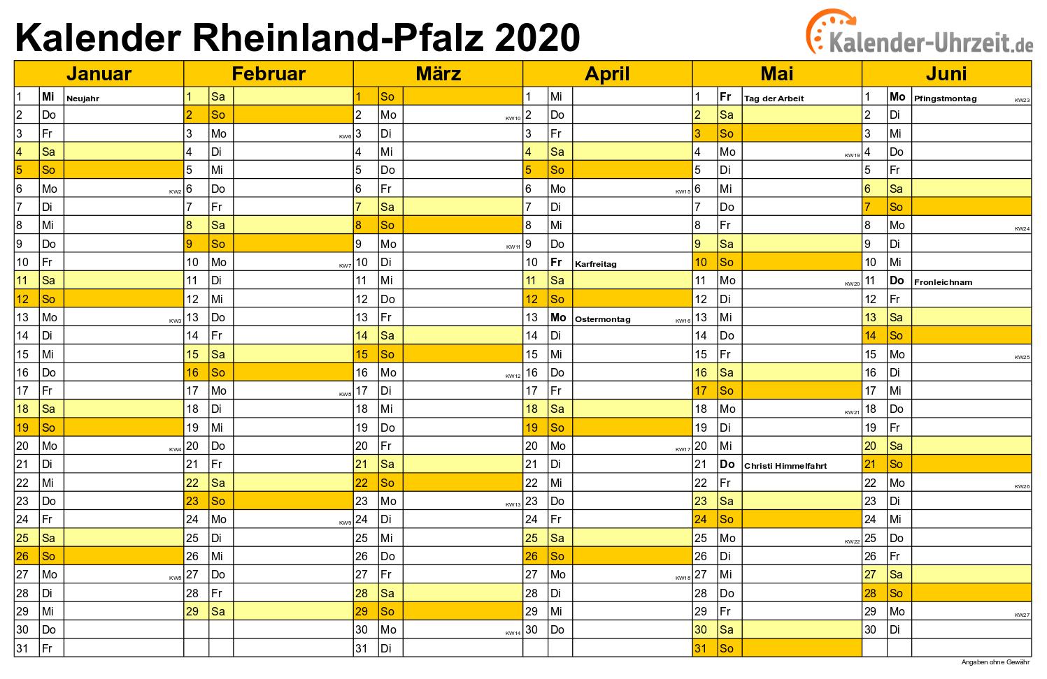 Rlp Feiertage 2020