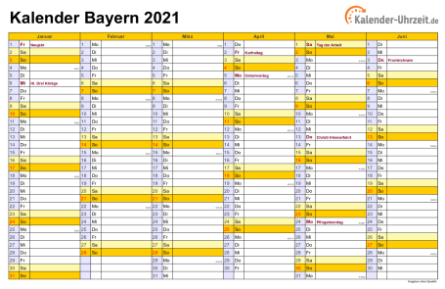 Feiertage 2021 Bayern + Kalender
