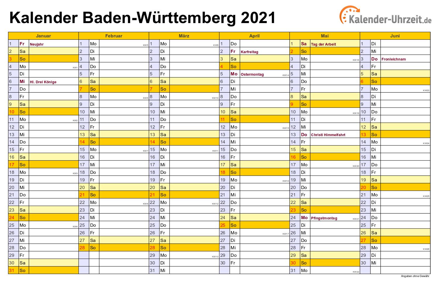 Feiertage 2021 Bw - Ferien Bw 2021/22 : Kalender 2021 ...