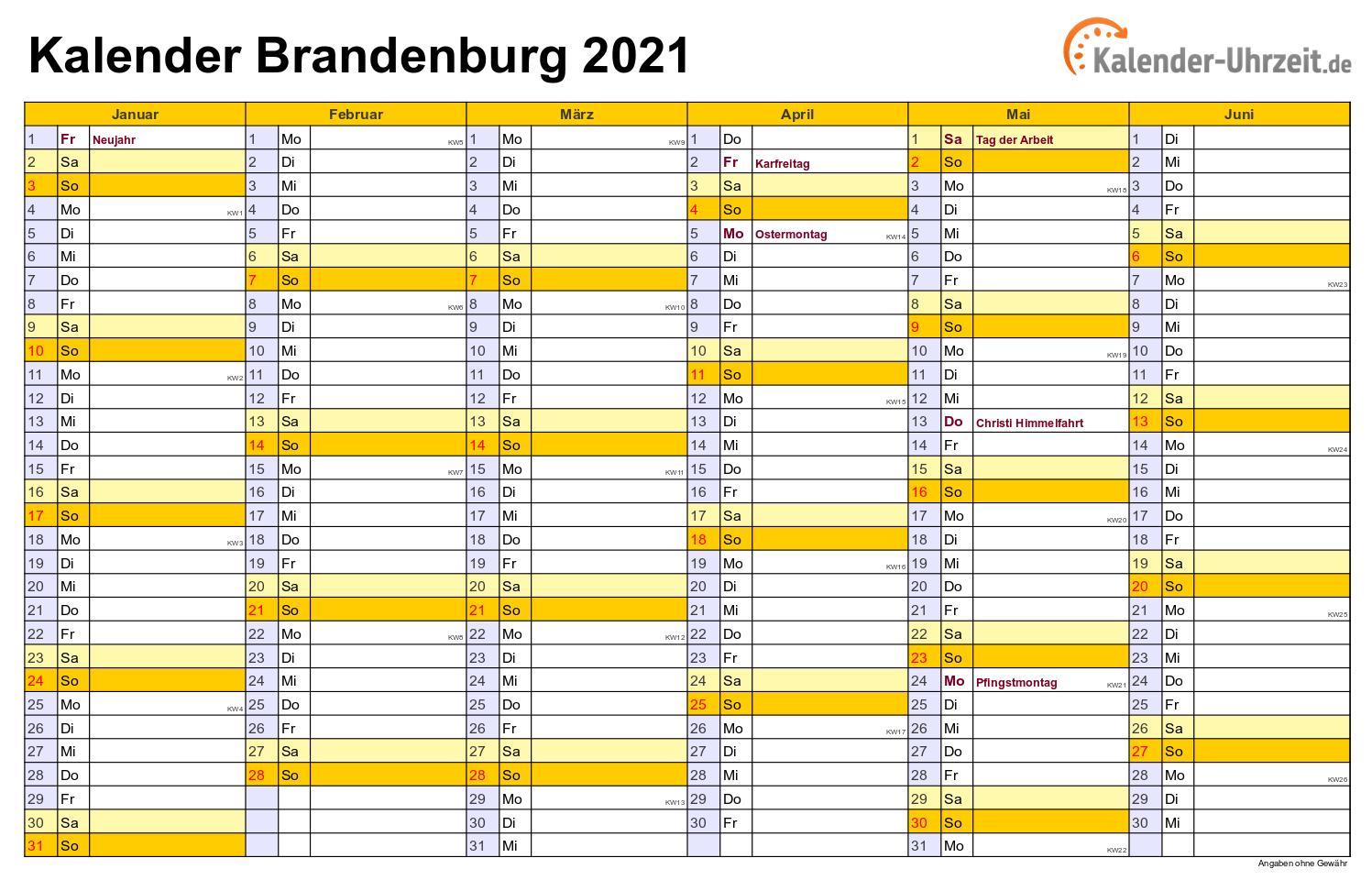 Feiertage 2021 Brandenburg + Kalender