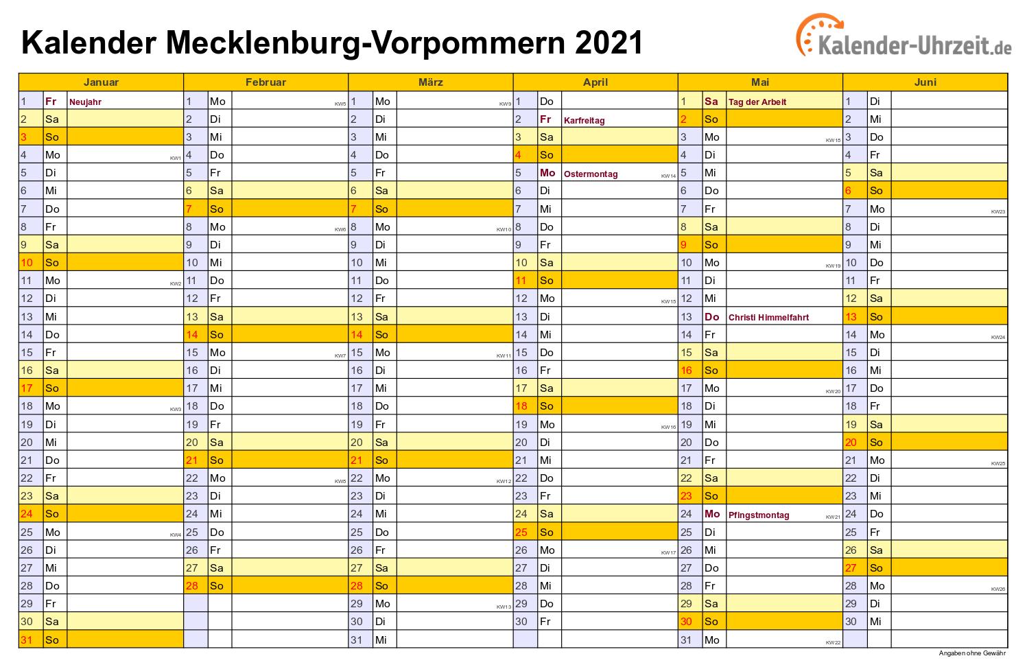 Feiertage 2021 Meck.-Pomm. + Kalender