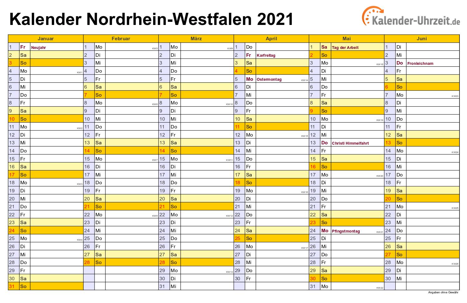 Jahreskalender 2021 Nrw Zum Ausdrucken Kostenlos ...