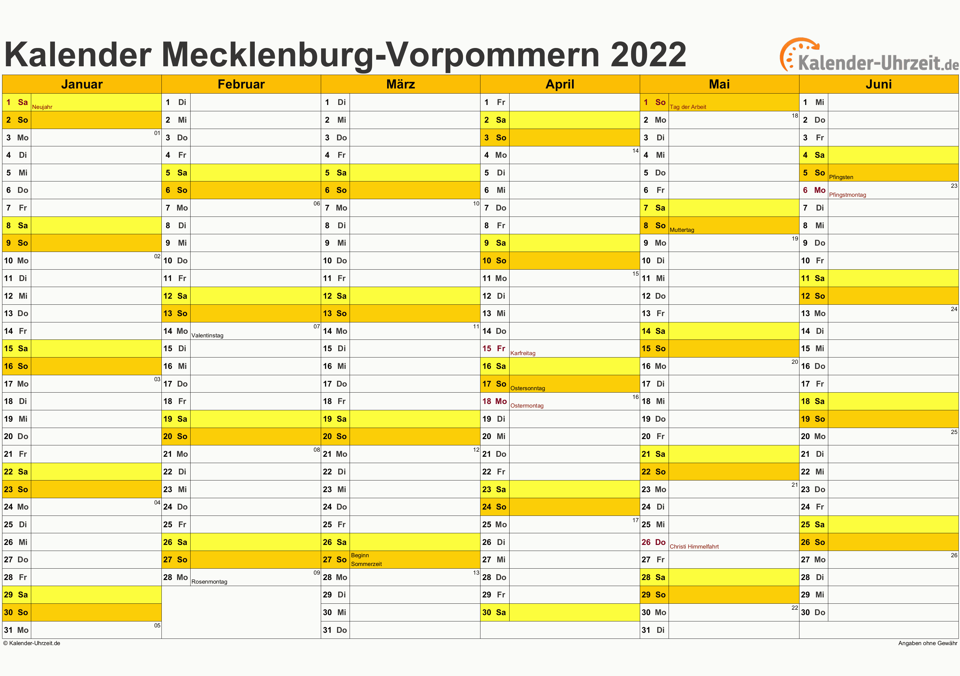 Feiertage 2022 Meck.-Pomm. + Kalender