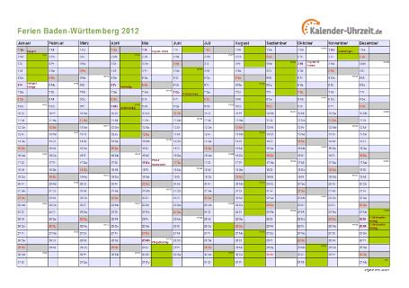 Ferienkalender 2012 für Baden-Württemberg - A4 quer-einseitig