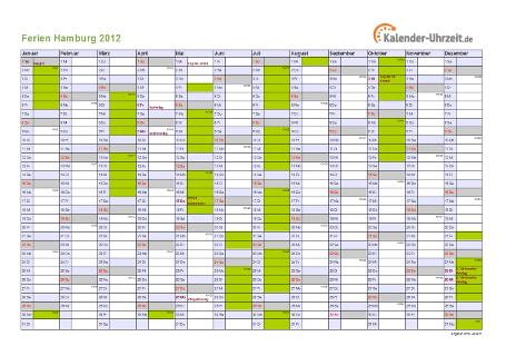 Ferienkalender 2012 für Hamburg - A4 quer-einseitig