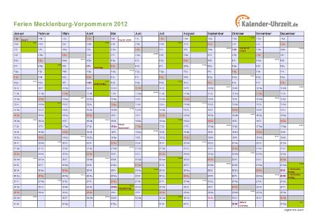 Ferienkalender 2012 für Meck.-Pomm. - A4 quer-einseitig