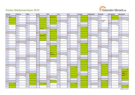 Ferienkalender 2012 für Niedersachsen - A4 quer-einseitig