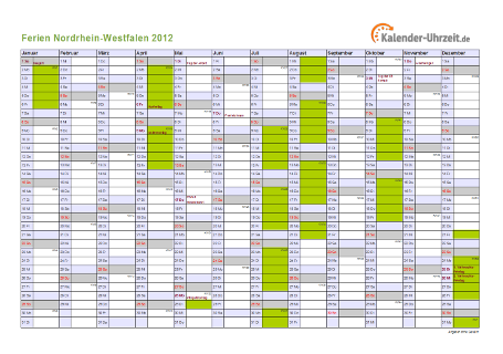 Ferienkalender 2012 für Nordrhein-Westfalen - A4 quer-einseitig