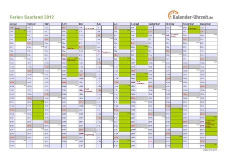 Ferienkalender 2012 für Saarland - A4 quer-einseitig