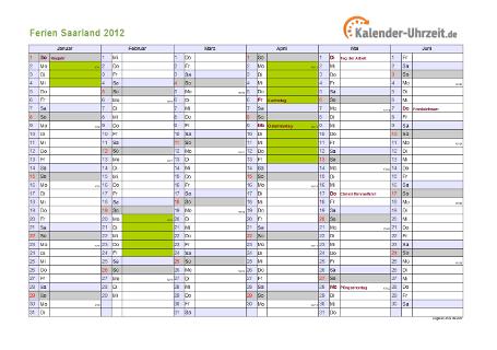 Ferienkalender 2012 für Saarland - A4 quer-zweiseitig
