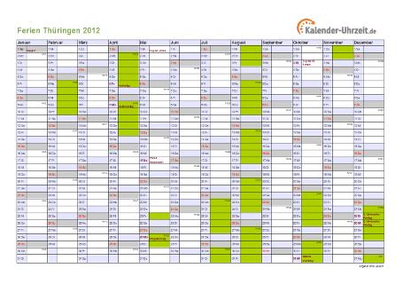 Ferienkalender 2012 für Thüringen - A4 quer-einseitig