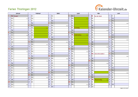 Ferienkalender 2012 für Thüringen - A4 quer-zweiseitig