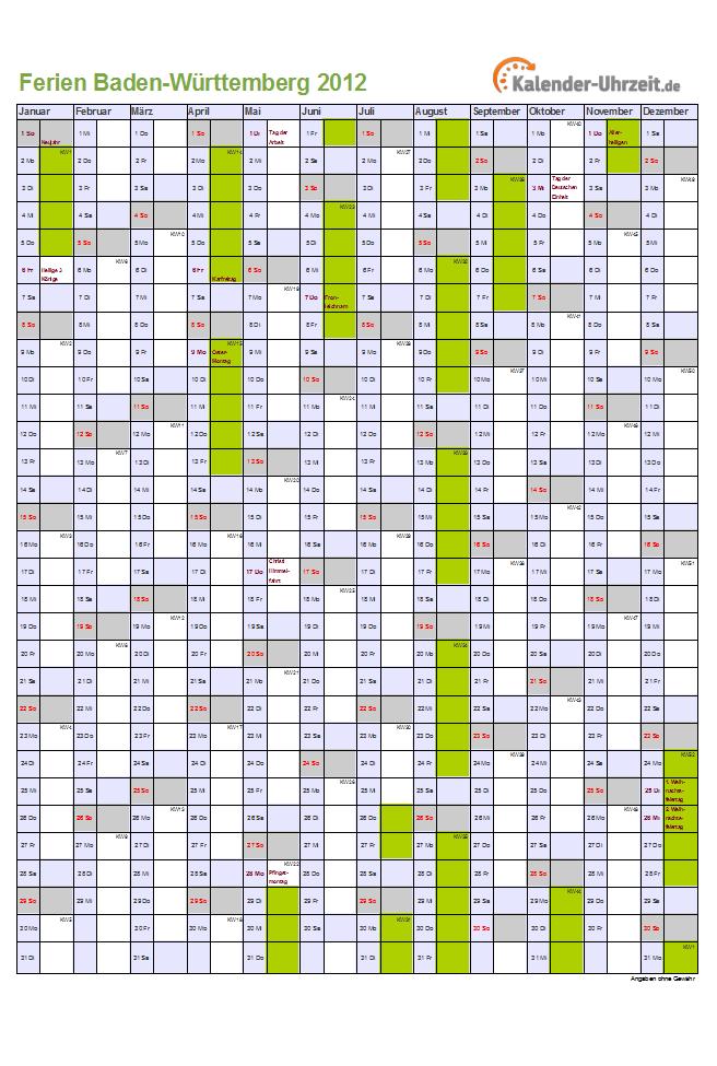 Württemberg kalender 2012 baden Arbeitskalender 2012