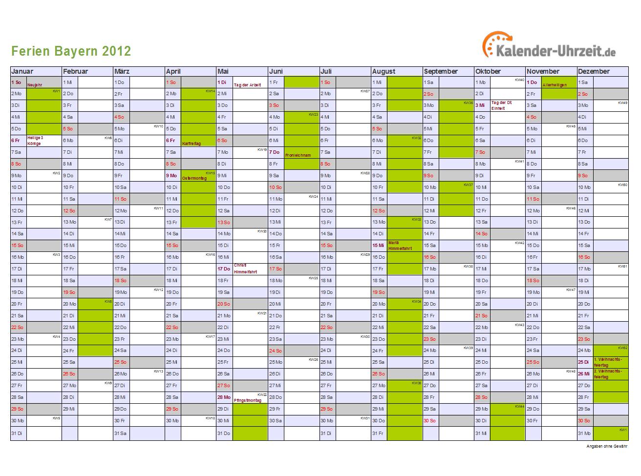 ferien bayern 2012 ferienkalender zum ausdrucken. Black Bedroom Furniture Sets. Home Design Ideas