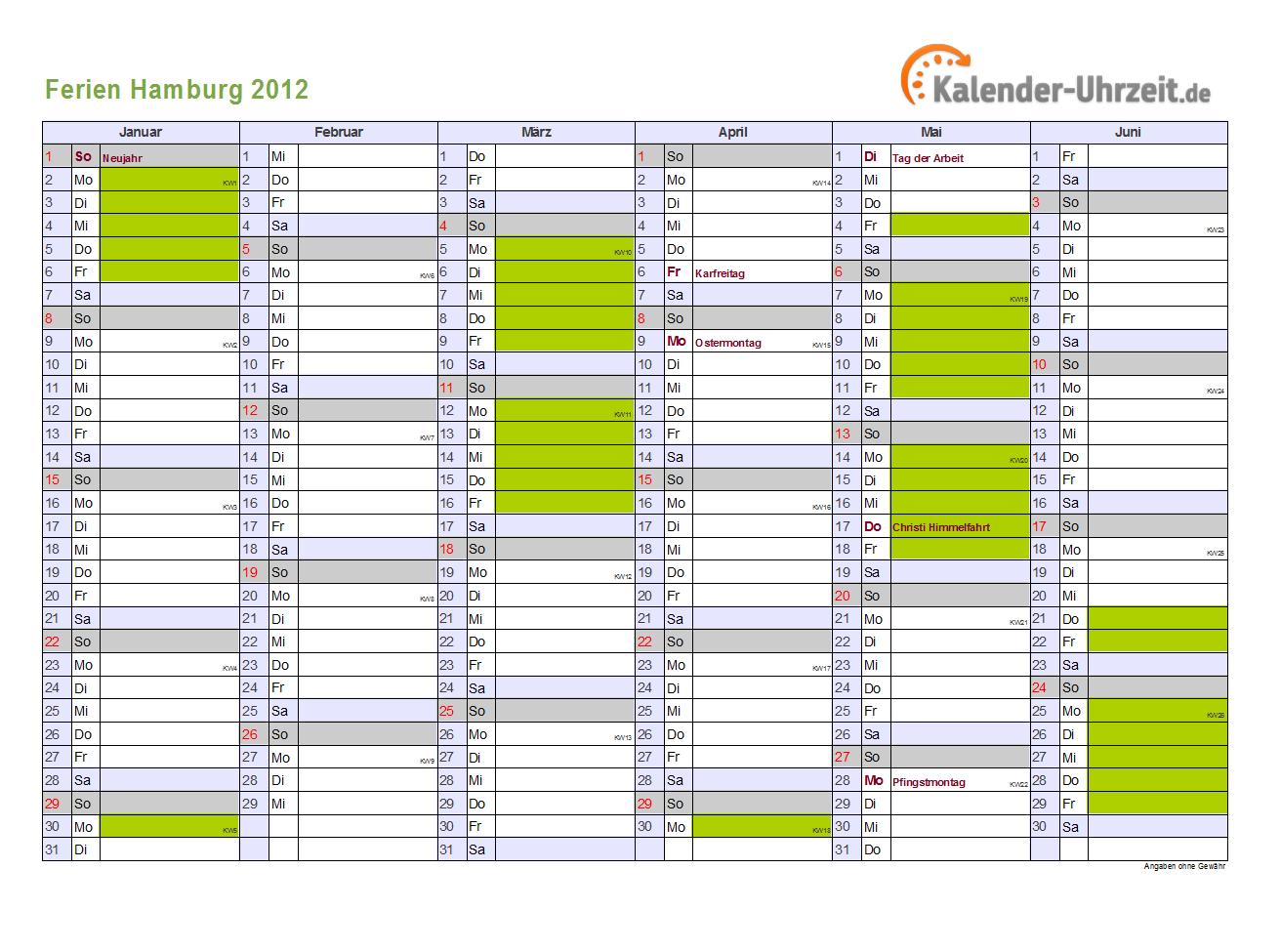 Kalender 2016   Ferien Hamburg, Feiertage