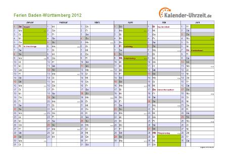 Ferienkalender 2012 für Baden-Württemberg - A4 quer-zweiseitig