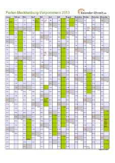 Ferienkalender 2013 für Meck.-Pomm. - A4 hoch-einseitig