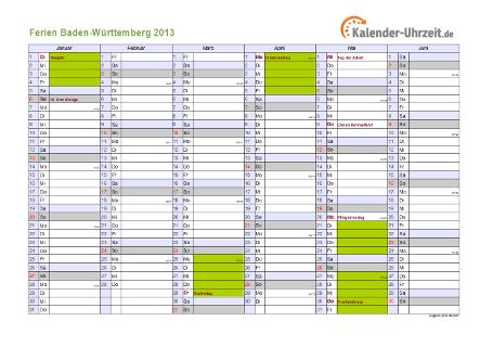 Ferienkalender 2013 für Baden-Württemberg - A4 quer-zweiseitig