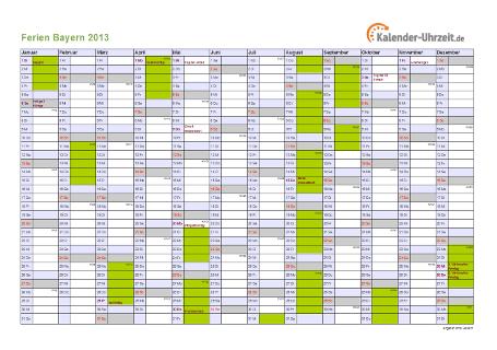 Ferienkalender 2013 für Bayern - A4 quer-einseitig