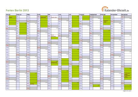 Ferienkalender 2013 für Berlin - A4 quer-einseitig