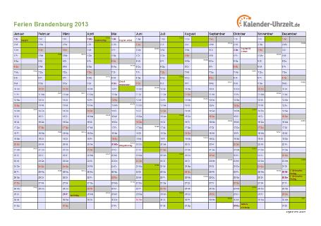 Ferienkalender 2013 für Brandenburg - A4 quer-einseitig