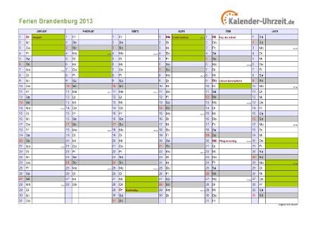 Ferienkalender 2013 für Brandenburg - A4 quer-zweiseitig