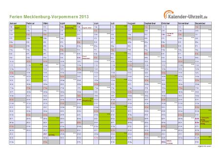 Ferienkalender 2013 für Meck.-Pomm. - A4 quer-einseitig