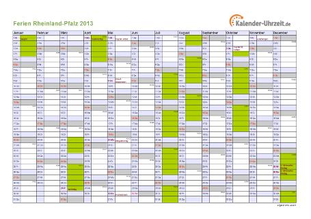 Ferienkalender 2013 für Rheinland-Pfalz - A4 quer-einseitig