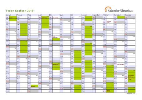Ferienkalender 2013 für Sachsen - A4 quer-einseitig
