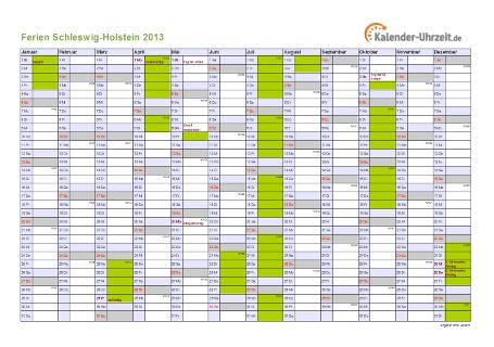 Ferienkalender 2013 für Schleswig-Holstein - A4 quer-einseitig