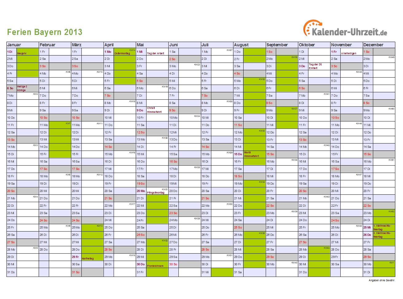 schulferien bayern 2013 ferienkalender zum ausdrucken. Black Bedroom Furniture Sets. Home Design Ideas
