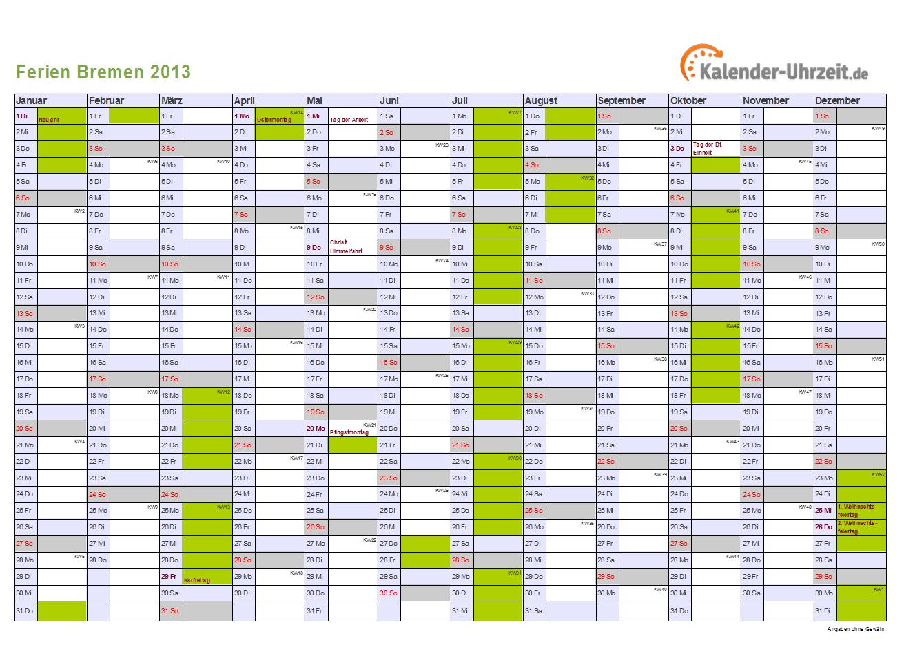 2013 Bremen mit Feiertagen zum Ausdrucken und Downloaden